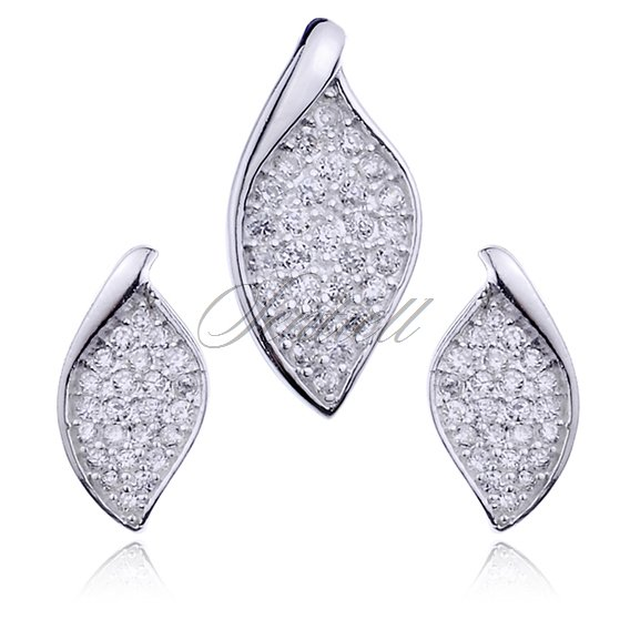 Silver (925) jewelry set (stud earrings and a pendant) leaves