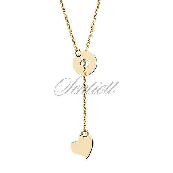 Silver (925) lariat necklace with heart and circle, gold-plated
