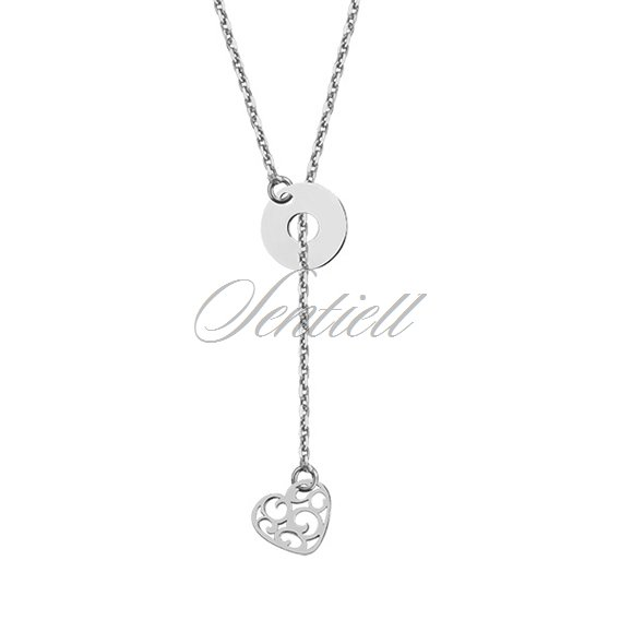 Silver (925) lariat necklace with open-work heart and circle