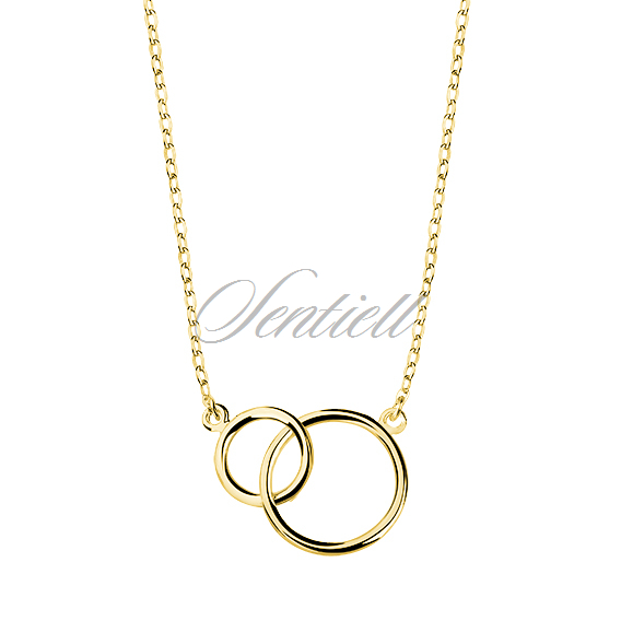 Silver (925) necklace connected circles gold-plated