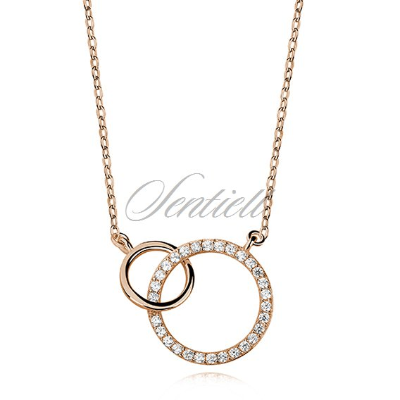 Silver (925) necklace gold-plated circles with zirconia