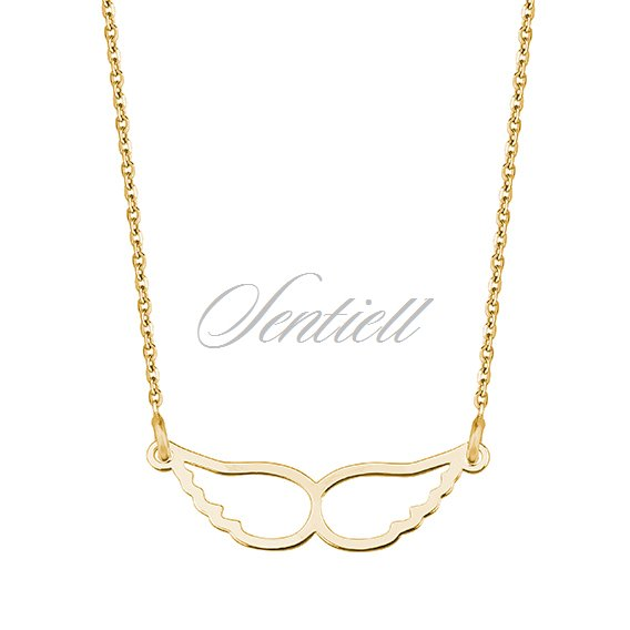 Silver (925) necklace - gold-plated wings