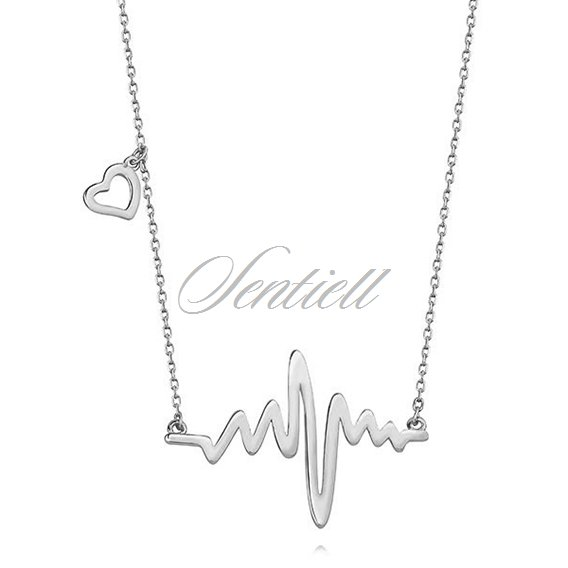 Silver (925) necklace heart and heartbeat