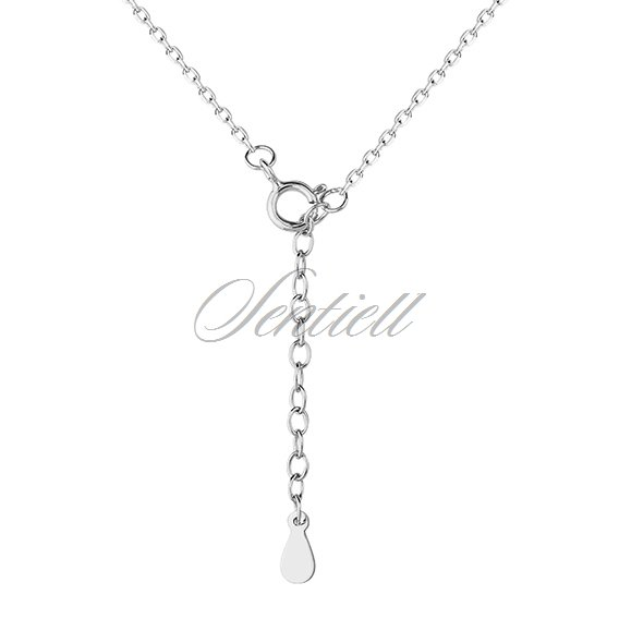 Silver (925) necklace - pulse and heart pendant with zirconia
