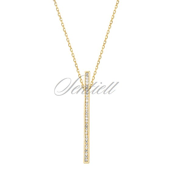 Silver (925) necklace - rectangle with zirconia, gold-plated