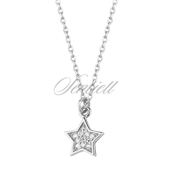 Silver (925) necklace - star with zirconia