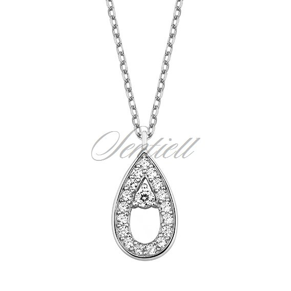 Silver (925) necklace  - teardrop with zirconia