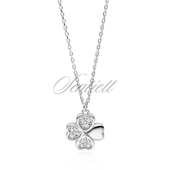 Silver (925) necklace with clover pendant with zirconia