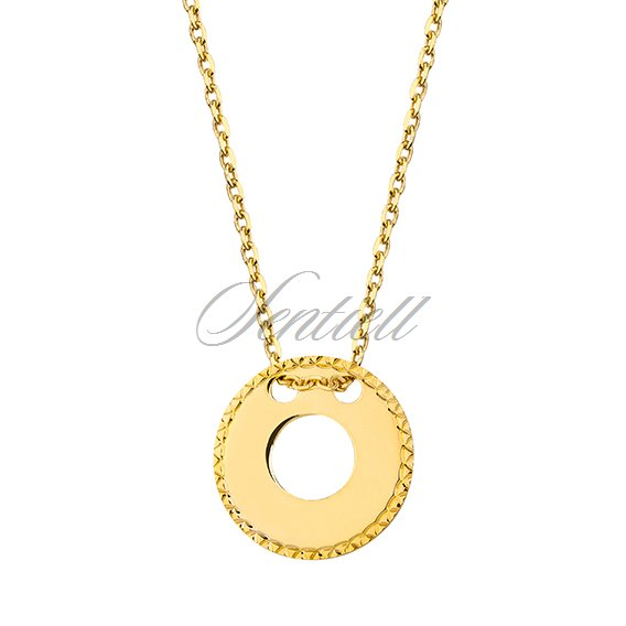 Silver (925) necklace with diamond-cut, round pendant