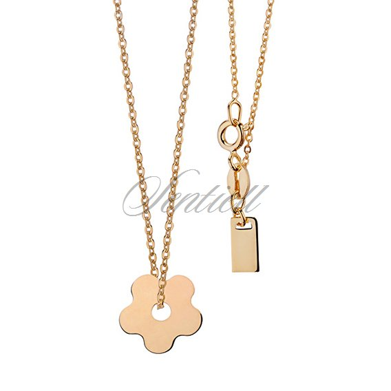 Silver (925) necklace with flower metal tag - goldplated