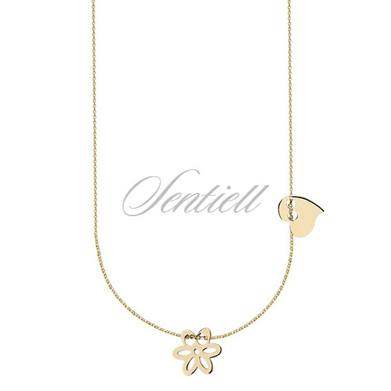 Silver (925) necklace with heart and flower, gold-plated