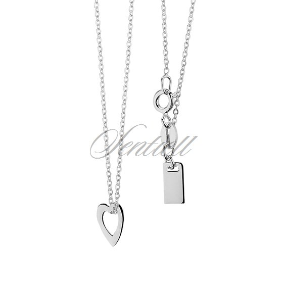 Silver (925) necklace with heart and metal tag
