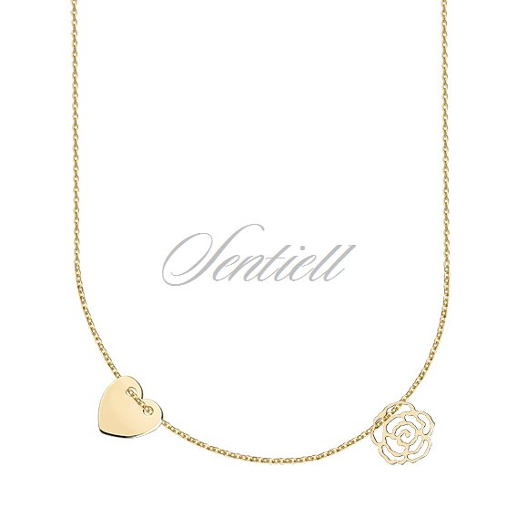 Silver (925) necklace with heart and rose, gold-plated