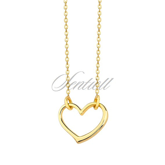Silver (925) necklace with heart pendant, gold-plated