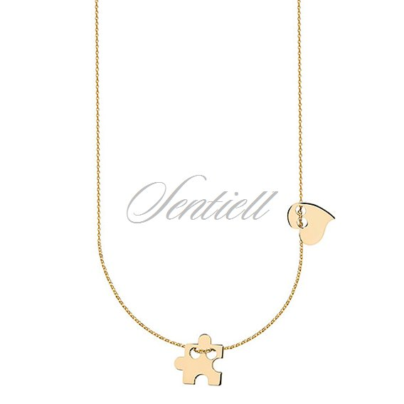 Silver (925) necklace with puzzel and heart, gold-plated