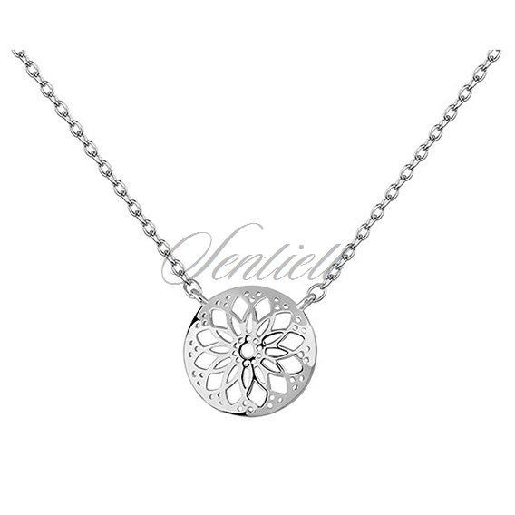 Silver (925) necklace with round, open-work pendant