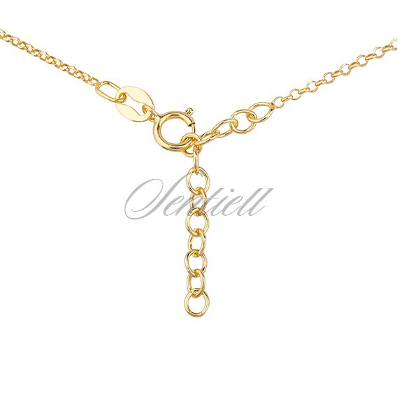 Silver (925) necklace with round pendant - gold-plated