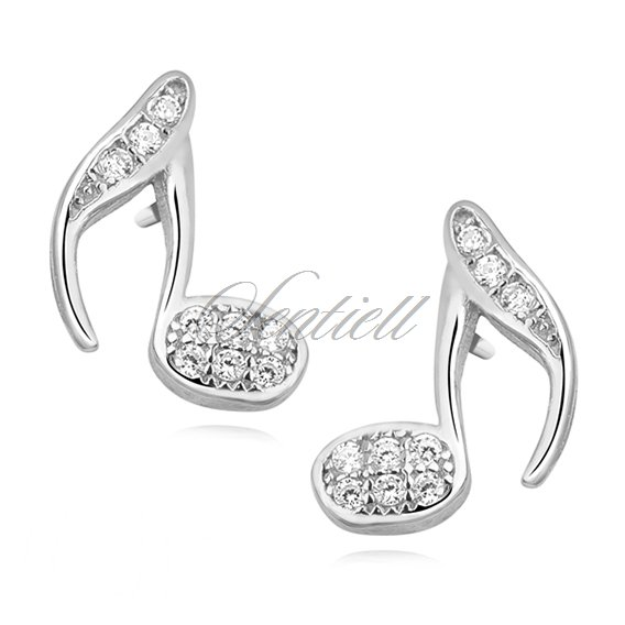 Silver (925) note earrings with zirconia