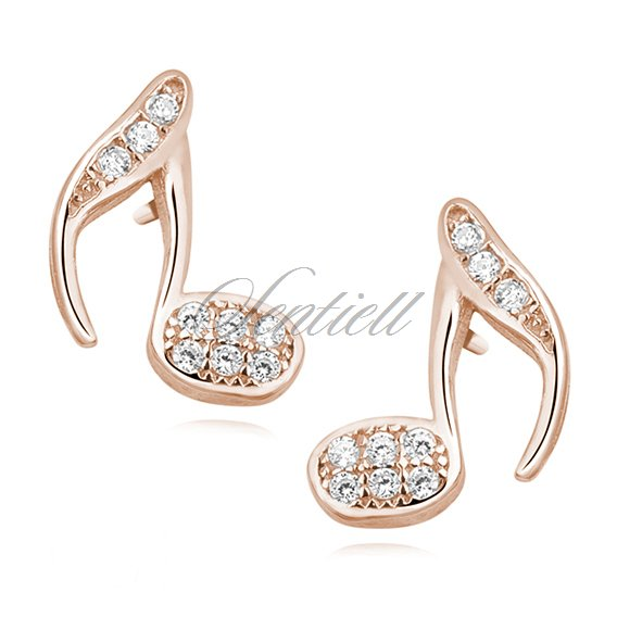 Silver (925) note earrings with zirconia, rose gold-plated