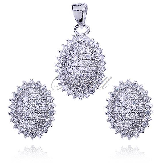 Silver (925) oval jewelry set zirconia