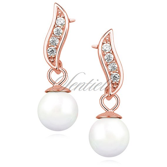 Silver (925) pearl earrings with zirconia rose gold-plated