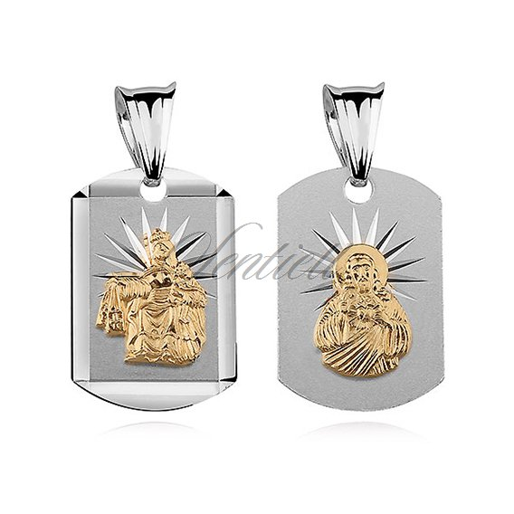 Silver (925) pendant - Jesus Christ / Scapular Mary, gold-plated
