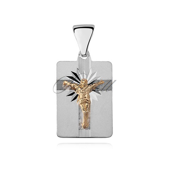 Silver (925) pendant Jesus on cross, gold-plated