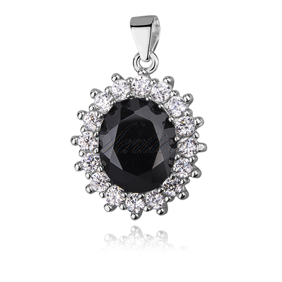 Silver (925) pendant black colored zirconia