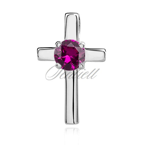 Silver (925) pendant cross with ruby zirconia