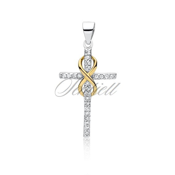 Silver (925) pendant cross with zirconia and gold-plated infinity sign