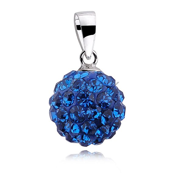 Silver (925) pendant disco ball 10mm capri blue