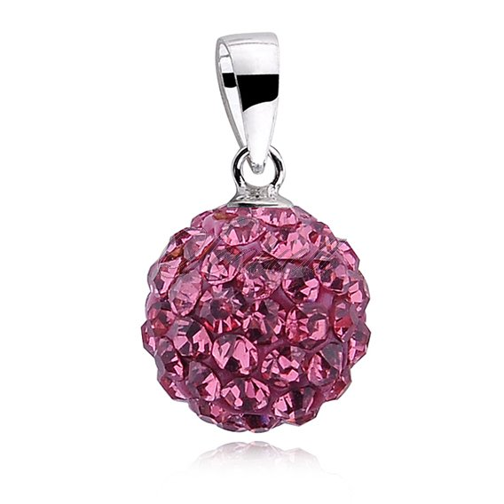 Silver (925) pendant disco ball 10mm rose