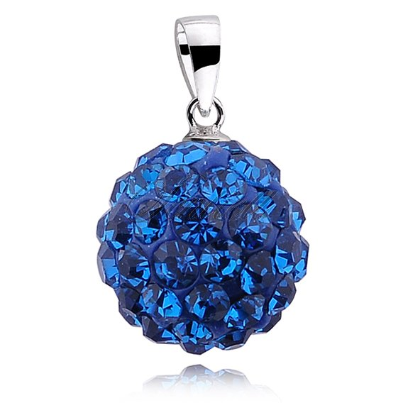 Silver (925) pendant disco ball 12mm capri blue