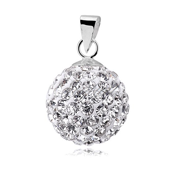 Silver (925) pendant disco ball 12mm white
