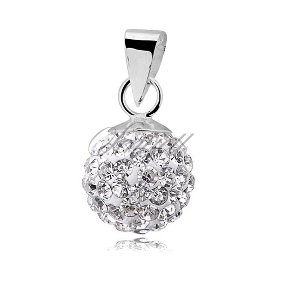 Silver (925) pendant disco ball 8mm white