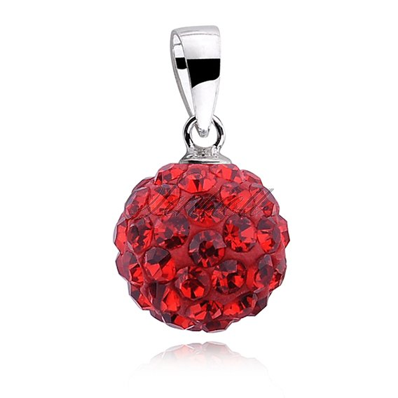 Silver (925) pendant disco ball red