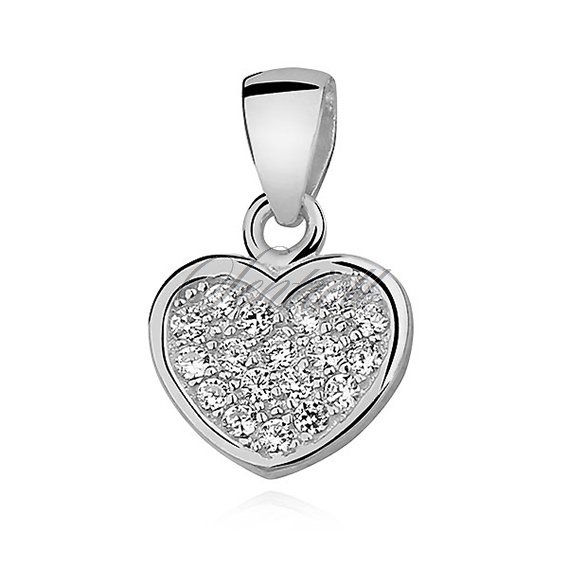 Silver (925) pendant - heart with zirconia