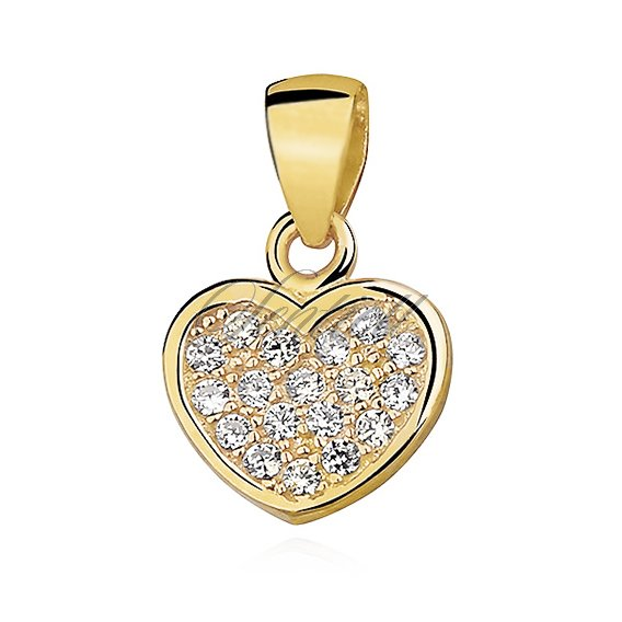 Silver (925) pendant - heart with zirconia, gold-plated