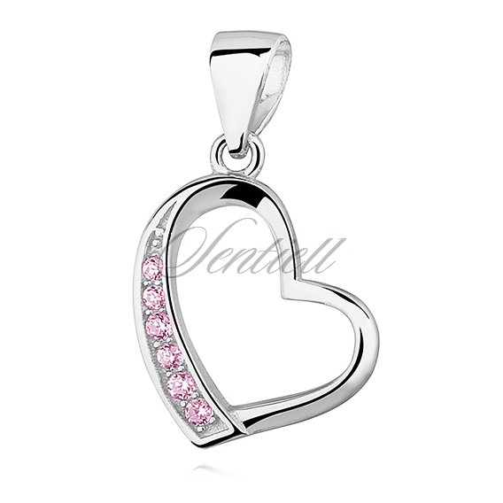 Silver (925) pendant - hollow heart with light pink zirconia