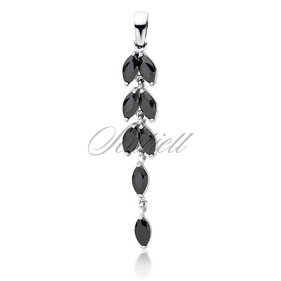 Silver (925) pendant long leafs with black zirconia
