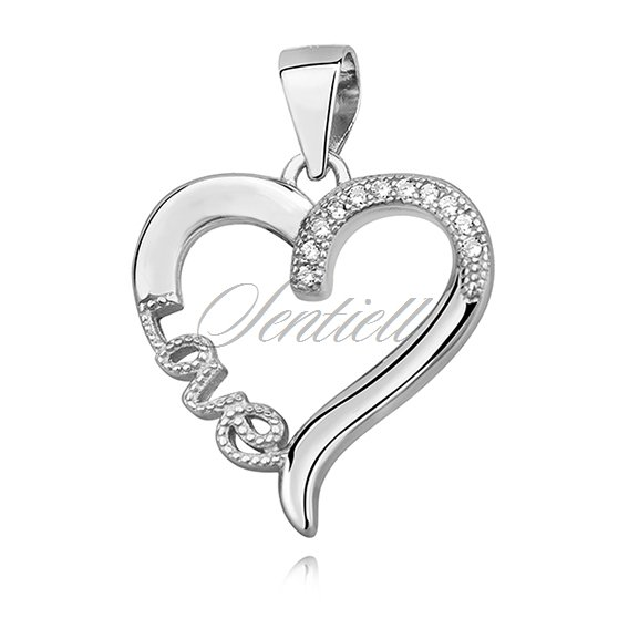 Silver (925) pendant - love, heart with zirconia