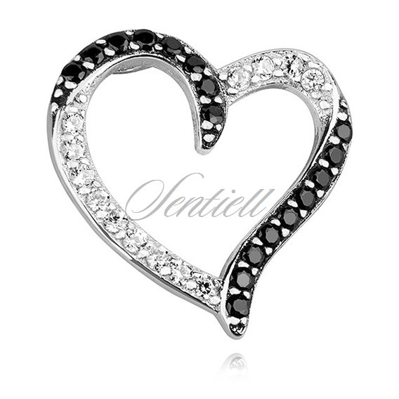 Silver (925) pendant - lovley hollow heart with white and black zirconia
