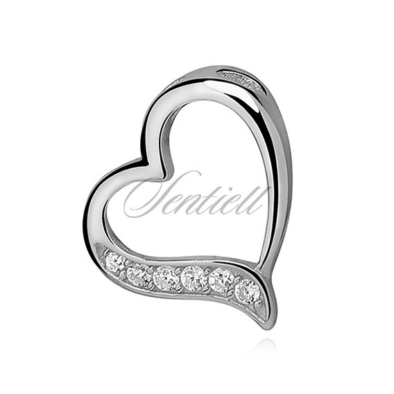 Silver (925) pendant - lovley hollow heart with zirconia