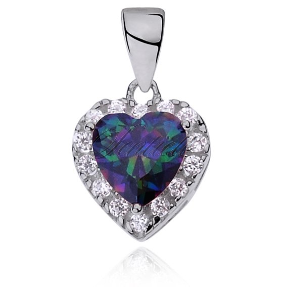 Silver (925) pendant multicolored zirconia - heart