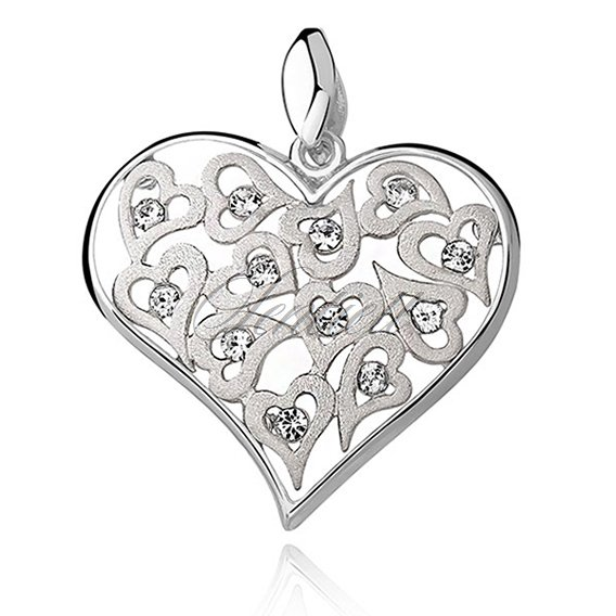 Silver (925) pendant openwork heart with zirconia and satin