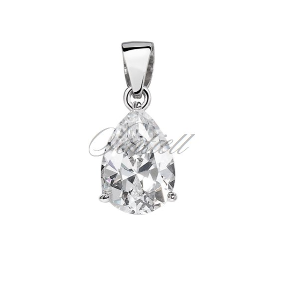 Silver (925) pendant tear-shaped white zirconia - 6 x 8mm