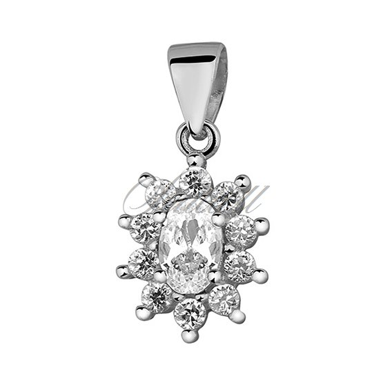 Silver (925) pendant white colored zirconia