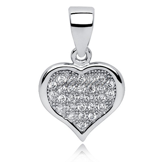 Silver (925) pendant white  - heart filled with zircons