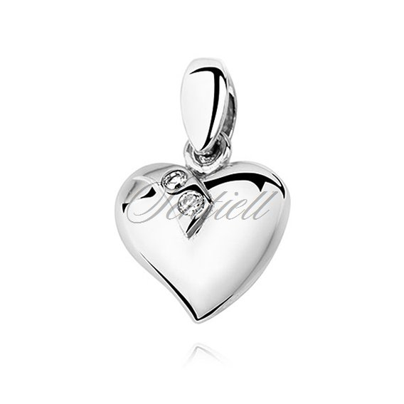Silver (925) pendant white zirconia - heart decorated with two zircons