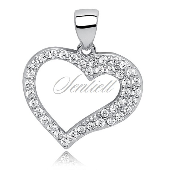 Silver (925) pendant white zirconia - heart hollow